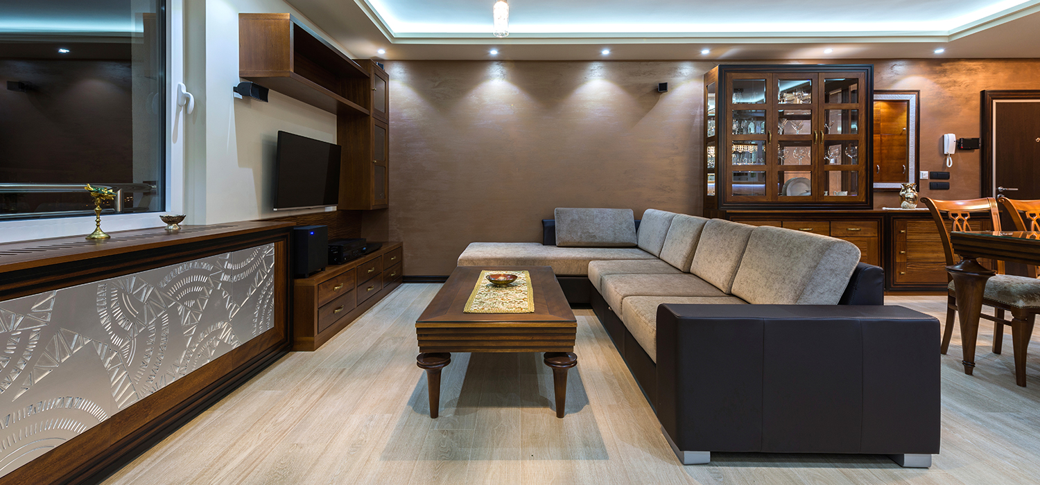 Floorrich light brown amber spc flooring installed in residential house for modern and luxurious look