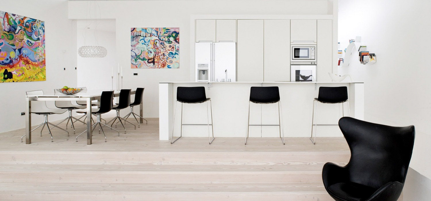 Floorrich white luxury vinyl flooring installed in residential house for minimalistic and spacious feel